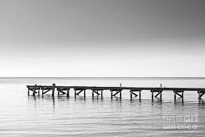 Photograph - Wooden Dock As Minimalism Background Black And White by Tim Hester