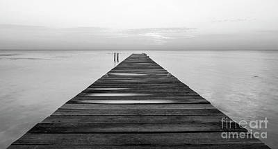 Photograph - Wooden Jetty At Dawn Black And White by Tim Hester