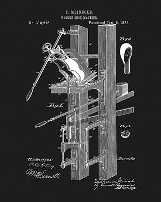 Drawing - Wooden Shoe Machine Patent by Dan Sproul