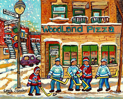 Painting - Woodland Pizza Rue Wellington Verdun Montreal Fine Art Hockey Painting C Spandau Winter Scene Artist by Carole Spandau