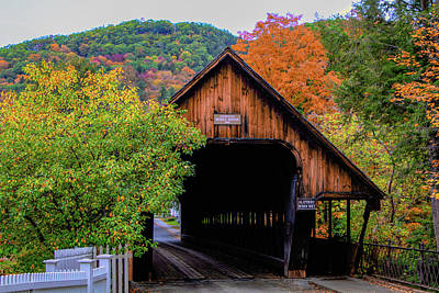 Photograph - Woodstock Middle Bridge In October by Jeff Folger
