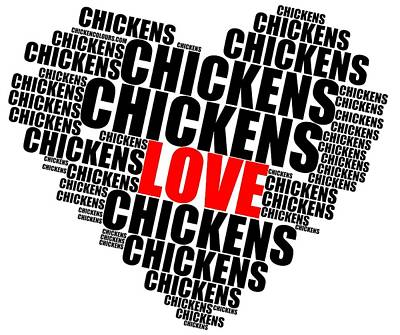 Digital Art - Wordcloud Love Chickens Black by Sigrid Van Dort
