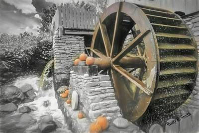 Digital Art - Working Water Wheel. by Rusty R Smith