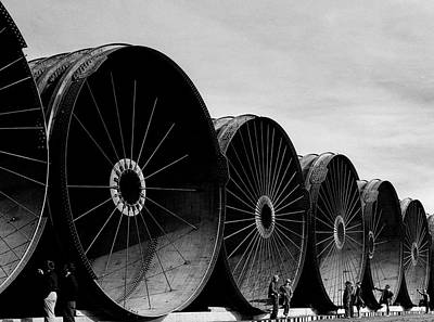 Photograph - Workmen Looking Over Gigantic Pipe by Margaret Bourke-white