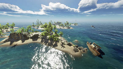 Digital Art - World Island 2 Scene 4 by Duane McCullough