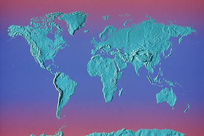 Topography Wall Art - Photograph - World Land Mass Map by Vladimir Pcholkin