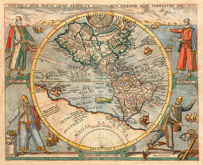 Photograph - World Map 1594 by Andrew Fare
