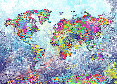 Travel Pics Royalty-Free and Rights-Managed Images - World Map Colorful Retro by Bekim M