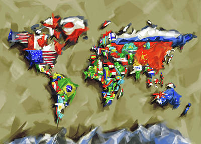 Digital Art Royalty Free Images - World Map Flags 2 Royalty-Free Image by Bekim Art