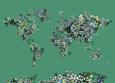 Royalty-Free and Rights-Managed Images - World Map Floral Green by Bekim M