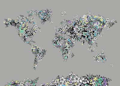 Digital Art Royalty Free Images - World Map Flowers 1 Royalty-Free Image by Bekim Art