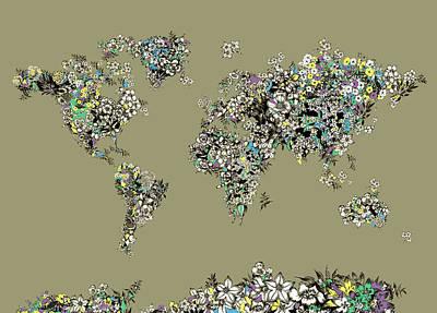 Digital Art Royalty Free Images - World Map Flowers 3 Royalty-Free Image by Bekim Art