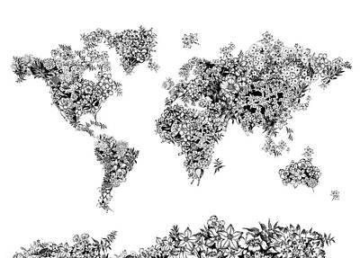 Digital Art Royalty Free Images - World Map Flowers 4 Royalty-Free Image by Bekim Art