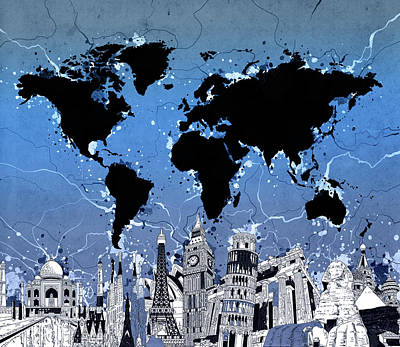 London Skyline Royalty-Free and Rights-Managed Images - World Map Landmarks 10 by Bekim Art