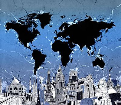 London Skyline Digital Art - World Map Landmarks 10 by Bekim Art