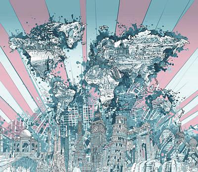 London Skyline Digital Art - World Map Landmarks 11 by Bekim Art