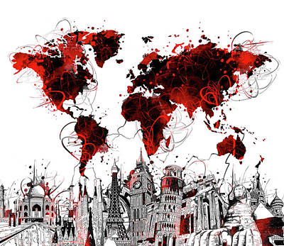 London Skyline Royalty-Free and Rights-Managed Images - World Map Landmarks 4 by Bekim Art