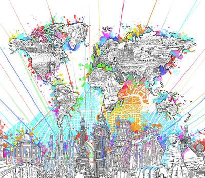 London Skyline Digital Art - World Map Landmarks 6 by Bekim Art