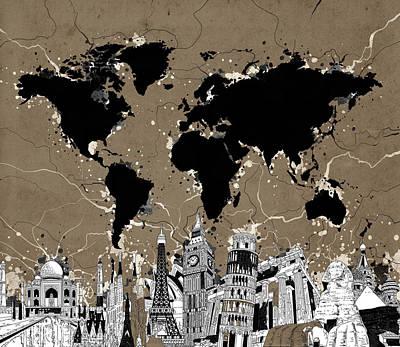 London Skyline Digital Art - World Map Landmarks 9 by Bekim Art