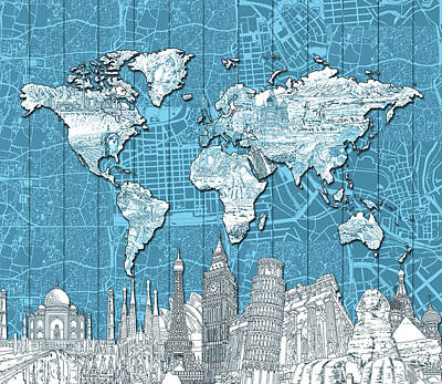 London Skyline Royalty-Free and Rights-Managed Images - World Map Landmarks Blue by Bekim Art
