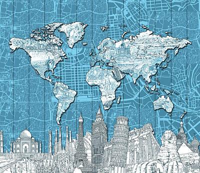London Skyline Digital Art - World Map Landmarks Blue by Bekim Art