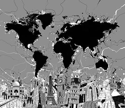 London Skyline Digital Art - World Map Landmarks Gray by Bekim Art