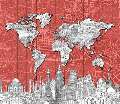 Paris Skyline Royalty Free Images - World Map Landmarks Skyline 3 Royalty-Free Image by Bekim Art