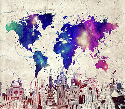London Skyline Royalty-Free and Rights-Managed Images - World Map Landmarks Vintage by Bekim Art