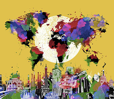 London Skyline Royalty-Free and Rights-Managed Images - World Map Landmarks Yellow by Bekim Art
