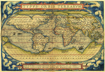 Photograph - World Map Of 1570  by Abraham Ortelius