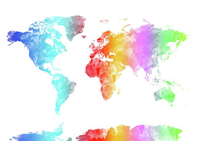 Travel Pics Royalty-Free and Rights-Managed Images - World Map Rainbow Watercolor by Bekim M