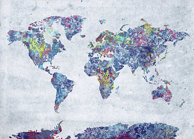 Digital Art Royalty Free Images - World Map Retro Floral Royalty-Free Image by Bekim Art
