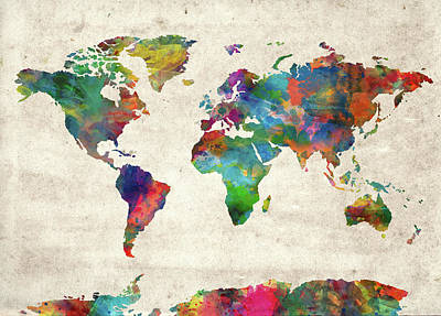 Travel Pics Royalty-Free and Rights-Managed Images - World Map Watercolor Vintage 2 by Bekim M