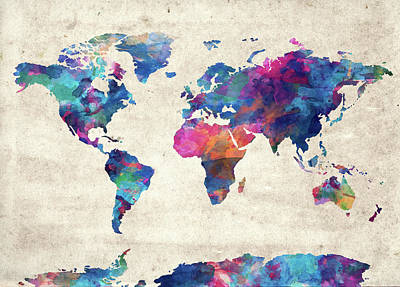 Travel Pics Royalty-Free and Rights-Managed Images - World Map Watercolor Vintage by Bekim M