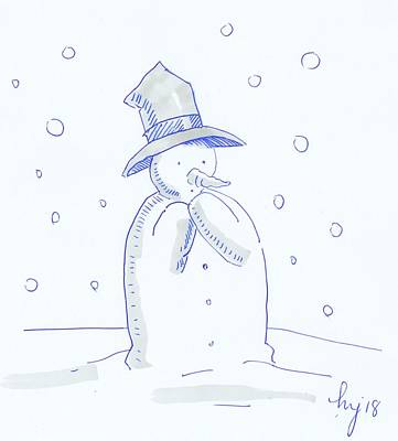 Drawing - Worried Snowman Christmas Cartoon by Mike Jory