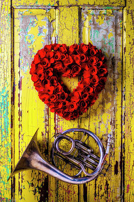 Photograph - Wreath Heart And French Horn by Garry Gay