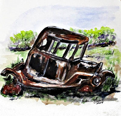 Painting - Wrecked And Rusting by Clyde J Kell