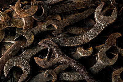 Photograph - Wrench Collection - old rusty tools in dramatic light by Art Whitton