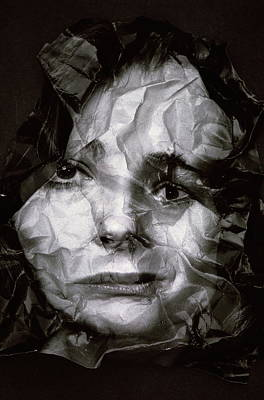 Photograph - Wrinkled Photograph Of Womans Face In by Alfred Gescheidt