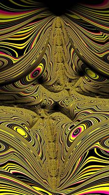 Digital Art - Wrinkles And Eyes Yellow Fractal Abstract by Shelli Fitzpatrick