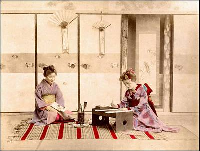 Painting - writing  Handcolored japanese albumen print from a tourists album of the early 20th century  by Celestial Images