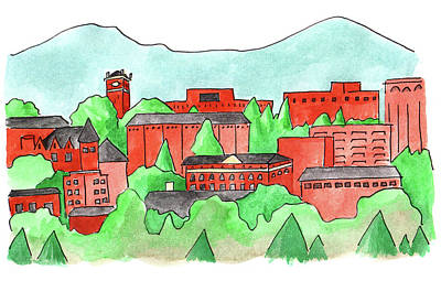 Painting - Wsu Pullman by Anna Elkins