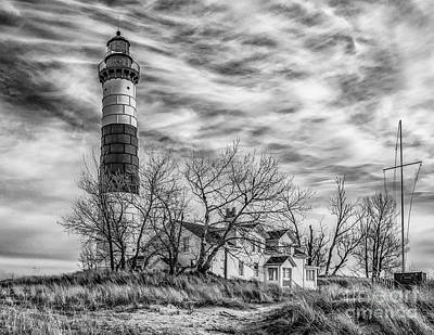 Photograph - Winter Day At Big Sable - Mono by Nick Zelinsky