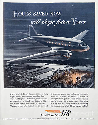Photograph - 1941 Ad Promoting Airline Travel by Kevin McCarthy