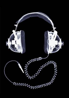 Music Photograph - X-ray Of Headphones by Nick Veasey