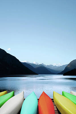 Recreational Boat Photograph - Xxxl Canoes And Mountain Lake by Sharply done