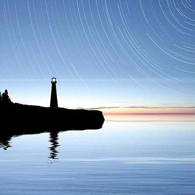 Photograph - Xxxl Lighthouse With Stars by Sharply done