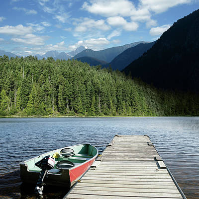 Recreational Boat Photograph - Xxxl Summer Mountain Lake by Sharply done