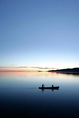 Recreational Boat Photograph - Xxxl Twilight Canoeing by Sharply done