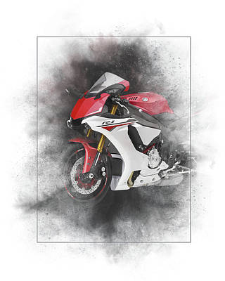Mixed Media - Yamaha Yzf-r1 Painting by Smart Aviation